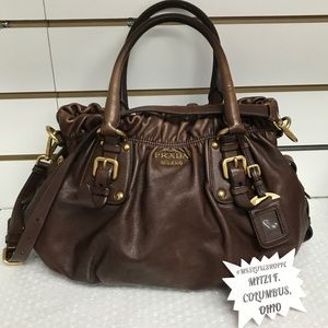 Prada Soft Calf Nocciolo  Calfskin Leather Bag